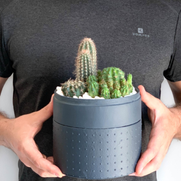 Midi Succulent mix in a charcoal handmade pot, midi jungle cacti mix held in mans hands. Biodegradable and recycled pot. Long-lasting and sustainable plant gift.